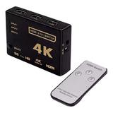 Switch Hdmi 3 Entrada 1 Saida 4k Com Controle Full Hd 3d