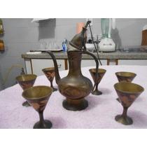 Jarra Em Bronze Com 6 Taçinhas Original Da India