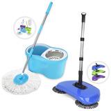Kit Balde Spin Mop 360 Centrifuga + Vassoura Mágica Sweeper