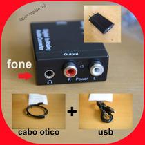 Adaptador Áudio Digital Rca + Saida Fone + Usb + Cabo Optico