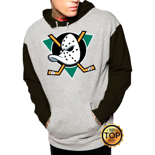 97e8dcbd30bd4 Blusa Moleton Super Patos Mighty Ducks Hockey Raglan Unisse