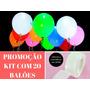 Balão Bexiga Bola Led Festa Decoração Casamento Luz Kit 20un