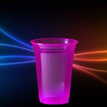 Copo Neon Rosa 300ml Brilha Na Luz Negra - Kit 25un