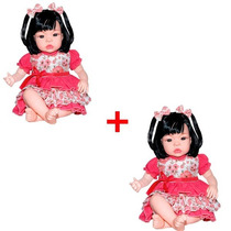 Kit 02 Boneca Baby Kiss Estilo Reborn Menina Sid Nyl