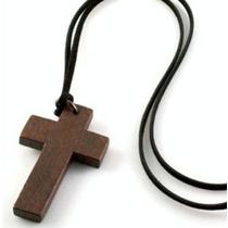 Cruz Crucifixo Pingente Cordão Colar Madeira Vintage Old 80