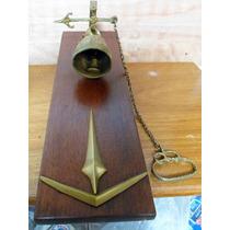 Antigo Sino Com Corrente E Puxador De Bronze-suporte Madeira