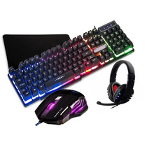 Kit Teclado Semi Mecânico Mouse Gamer + Headset + Mouse Pad