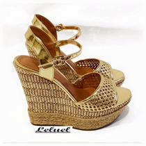 Sandália Anabela Salto Alto Dourada Marca Leluel Shoes
