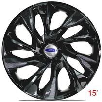 Calota Jogo Aro 15 Ds4 Black Ford Ka Fiesta Focus Ecosport