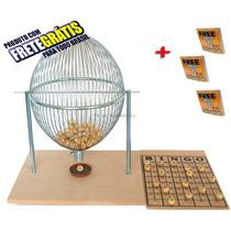 Bingo Completo Globo Cromado Nº4 + 300 Cartelas + Frete