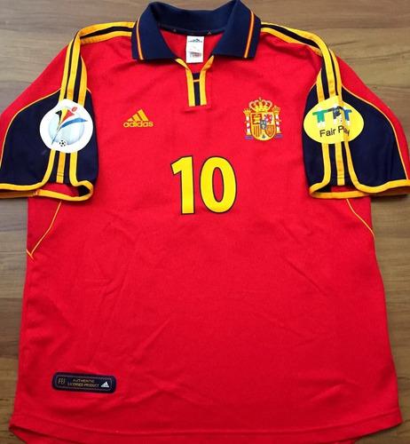 Camisa Espanha Euro 2000 Autografada Raul Guardiola Hierro f5386178f21f6
