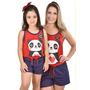 Kit 2 Baby Doll Mãe E Filha Panda Coração Pijama Verão Curto