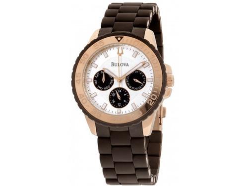 34ac7187d87 Relógio Bulova 98n103 Banho Ouro Pulseiraproteção Silicone