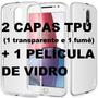 Capa Tpu + Película De Vidro Moto G4 G4 Plus Play 4ª Geração