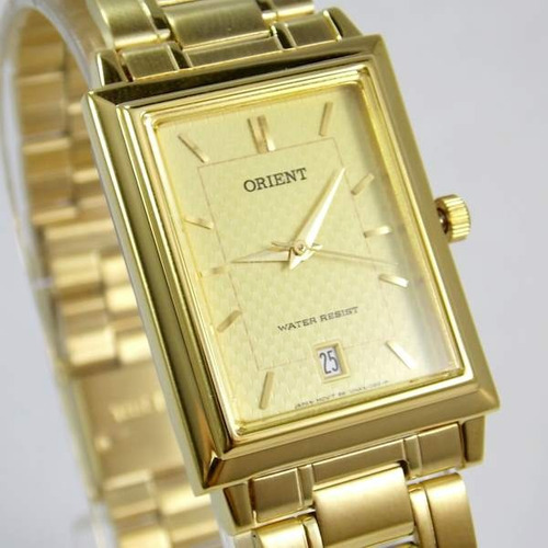 f1507ffbe85 Relógio Orient Quartz Dourado Quadrado Unissex 28mm Pequeno