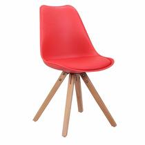 Cadeira Importada Vermelha Pés Madeira Confortável Bonita