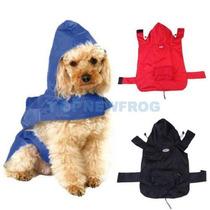 Capa Chuva Azul Capuz Roupas Acessórios Cão Dog Pet Tam 2xg