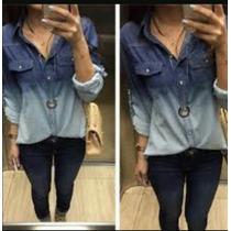 Camisa Jeans Feminino Degrade Duas Cores