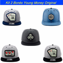 Kit 2 Bonés Aba Reta Snapback Young Money Modelos Originais