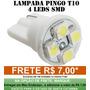 Lampadas Pingo T10 4 Leds Smd Branca - Super Promocao