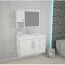 Balcão Gabinete De Banheiro Chromo 802 Branco Com Lavatório