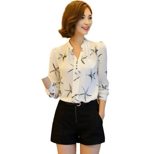 Camisa Blusa Feminina Social Chiffon Manga Longa Estampas - R  70 en ... f969b46e0d436