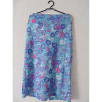 Saia Azul Estampada Plus Size Cód. 1083