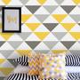Papel De Parede Adesivo Triângulos Amarelos 9,60m X 58cm