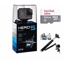Go Pro Hero5 Black Camera Gopro 5 Tela Lcd +64gb C/10+bastão
