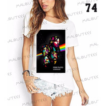 Camiseta T-shirts Feminina Fashion Pink Floyd Rock Roll