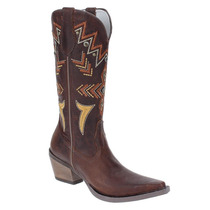 Bota Texana Feminina Marrom Cano Longo Com Detalhes - Wrangl
