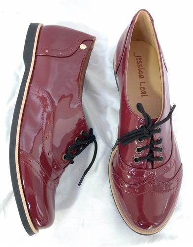 477f0491a1 Sapato Oxford Feminino Verniz Bordo