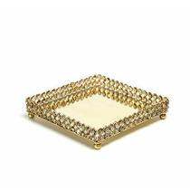 Bandeja De Cristal Espelhada Dourada 26 Cm Espelho Linda