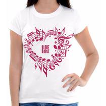 Camisa Camiseta Musica Notas Rosa Pentagrama Coração Linda