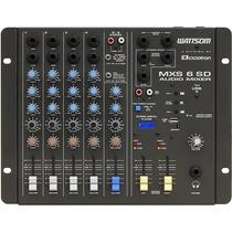 Mesa De Som Stereo 6 Canais Mxs 6 Sd Wattsom Com Entrada Usb