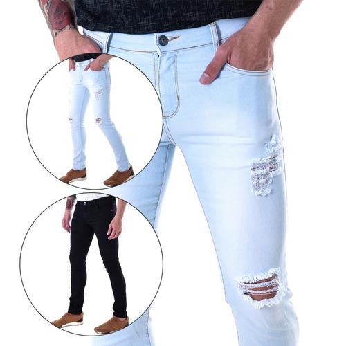 2ac0e9955 Kit 2 Calça Jeans Masculina Slin Fit Lycra Ballad Premium. R  129.99