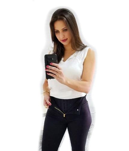 a5297247d1 Calça Feminin Preta Super Lipo Cintura Média Alta 990 Sawary
