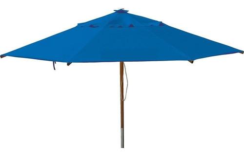 Ombrelone Quadrado - Madeira -  2,10m - Com Abas - Azul