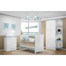 Jogo De Quarto Bebe Azul Doce Sonho 3 Peças Qmovi