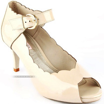N 37 Sapato Peep Toe Grife Mya Haas Couro Legítimo Off White