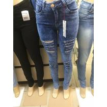 Calça Jeans Cintura Media Azul Rasgada Nas Pernas!!
