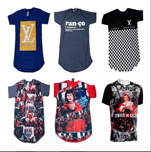 9cdf9555c6 Kit 10 Camiseta Masculino Oversized Camisa Longline Atacado à venda ...