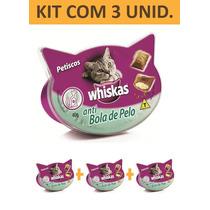Petisco Gato Whiskas Anti Bola De Pelo - Kit Com 3 Unidades