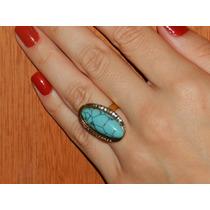 Anel Com Pedra Azul Ouro Velho Com Strass - Turquesa Linda