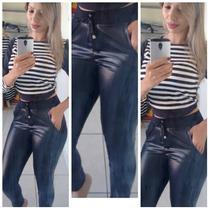 Conjunto Calça Brilho Cintura Alt Disco Hot Pants+ Crooped