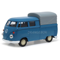 Vw Kombi T1 Cabine Dupla Pickup 1:36 Welly 43603h-azul