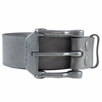 Cinto Oakley Couro Liso Cinza Leather Belt Promoçao