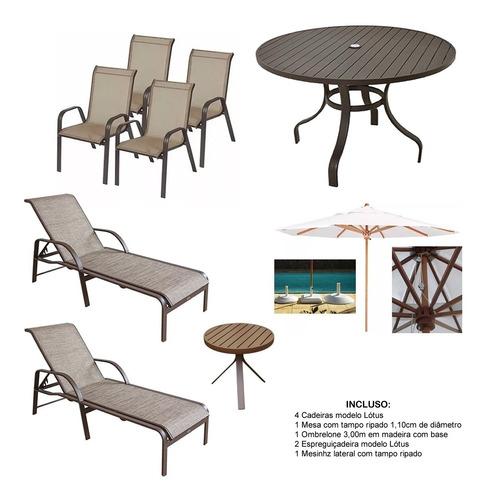 Kit Piscina Jogo Mesa 4 Cadeiras Aluminio + Espreguiçadeiras