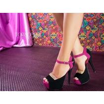 Sapato Salto Alto Peep Toe Importado Preto Pink Exclusivo