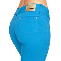 Calça Azul Feminina Com Lycra Strech Moletinho Obsessão 808